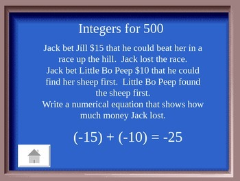 Jeopardy Game for Integers (6th grade Common Core Stds)