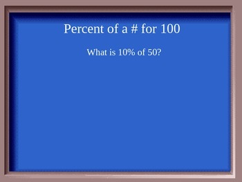 Jeopardy Game for Percents and Applications of Percents