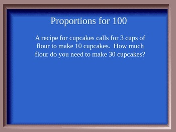 Jeopardy Game for Ratios, Proportions, Indirect Measurement, Rates, Scales