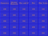 Jeopardy Game for Reviewing Monster by Walter Dean Myers