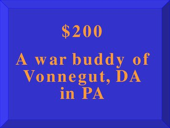 Jeopardy Game for Reviewing Slaughterhouse-Five by Kurt Vonnegut