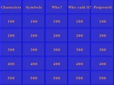 Jeopardy Game for Reviewing The Great Gatsby by F. Scott F