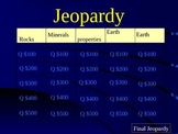 Jeopardy Game for Rocks, Minerals, Soil Science Review