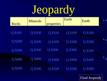 jeopardy game for rocks minerals soil science review by