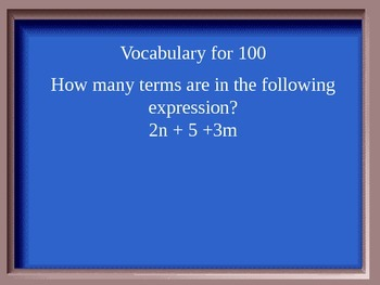 Jeopardy Game on Expressions (6th grade Common Core Stds.)