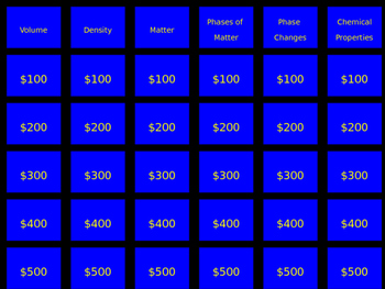 Jeopardy Game on the properties of matter unit.