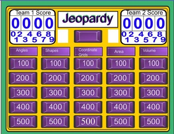 Jeopardy Geometry and Measurement Review