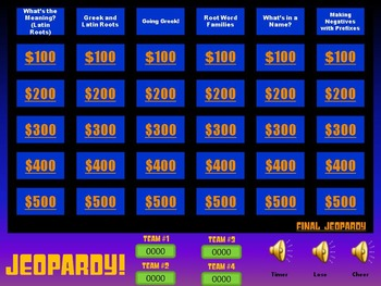 Jeopardy Greek and Latin Roots