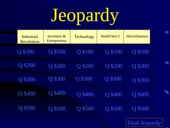 Jeopardy - Industrial Revolution and WWI