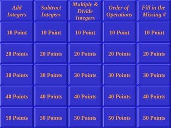Jeopardy Integers
