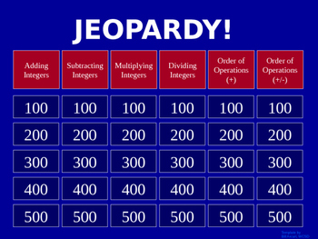 Jeopardy Integers