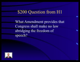 Jeopardy Law Game ~ Bill of Rights ~ Constitution Amendmen