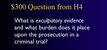 Jeopardy Game - RULES OF EVIDENCE - Criminal Procedure & Trials