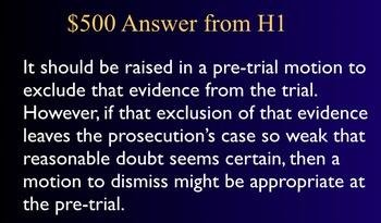 Jeopardy Law Game - CRIMINAL PROCEDURE - Criminal Trials
