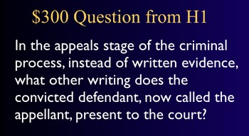 Jeopardy Law Game Criminal Processes Proceedings Trials Cr