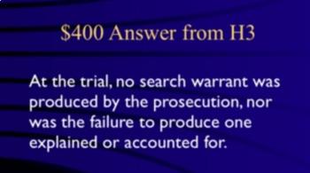Jeopardy Game Law MAPP & RANDOLPH Search Seizure - 4th Amendment