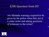 Jeopardy Law Game MIRANDA - Warnings to Accused - 5th Amendment