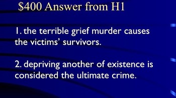 Jeopardy Game - MURDER in the Criminal Law - Prosecution & Defense