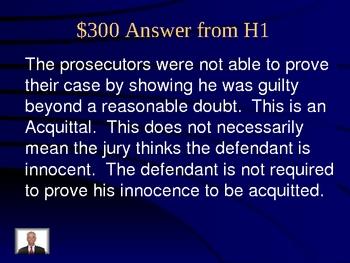 Jeopardy Law Game, O. J. Simpson Cases, Criminal & Civil Law