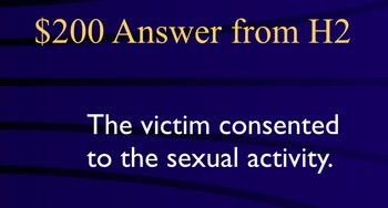 Jeopardy Law Game - SEX CRIMES - Criminal Law - Rape, Assault et al