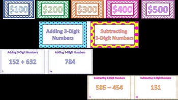 Jeopardy Like Game Money Cards +2 Catagories