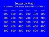 Jeopardy Math - 1st Grade