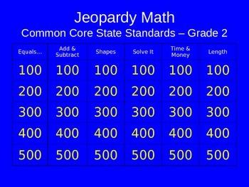 Jeopardy Math - 2nd Grade