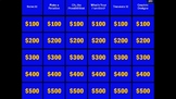 Jeopardy Math 7 SOL Review Game Interactive Sound editable