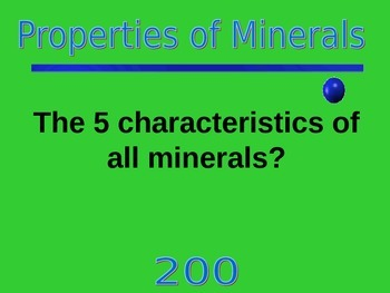 Jeopardy Minerals Game