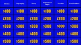 Jeopardy Mix Review with Fractions, Shapes, Money, Word Pr