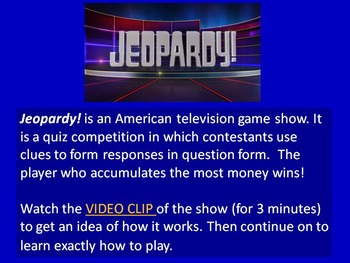 Jeopardy! Nature and Weather Edition (Adult ESL)