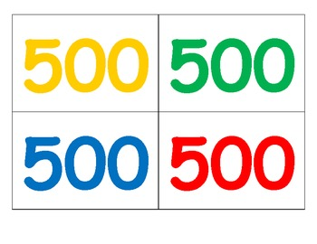 Jeopardy Numbers Template 100-500 points