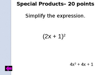 Jeopardy Review: Polynomials and Operations
