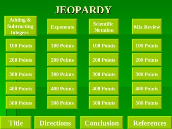 Jeopardy PowerPoint Game - Exponents & Scientific Notation