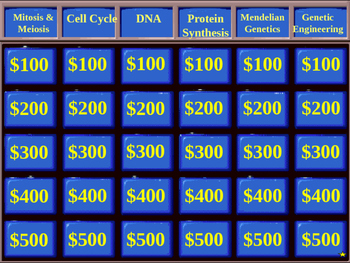 Jeopardy PowerPoint - Genetics review (also serves as a template!)