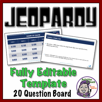 Jeopardy - PowerPoint Template - 20 question version