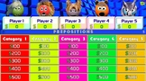Jeopardy - Prepositions - Game - Sounds & Pictures