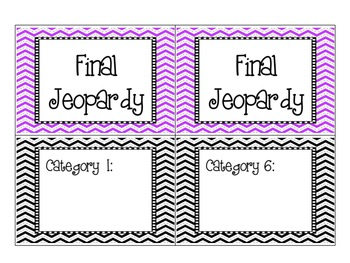 Jeopardy Printable Cards - TEMPLATE