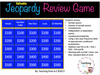 Jeopardy Probability Review Game