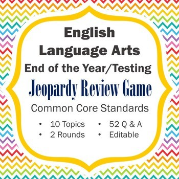 ELA End of the Year Review / Testing Review Jeopardy Game (Middle School)
