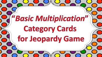 """Jeopardy Question Cards """"Basic Multiplication"""""""