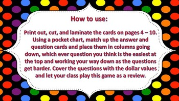 """Jeopardy Question Cards """"Expanded Form"""" ((up to thousands))"""