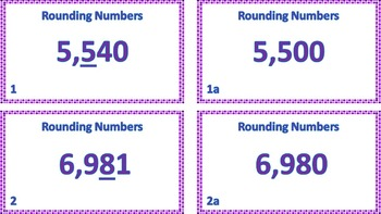 """Jeopardy Question Cards """"Rounding Numbers"""" ((Up to thousands))"""