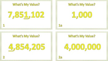 "Jeopardy Question Cards ""What's My Value?"" ((Value of Numbers Up To Million))"