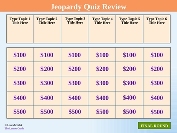 jeopardy quiz review powerpoint template lesson by lisa michalek. Black Bedroom Furniture Sets. Home Design Ideas