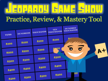 Numbers to 100,000 Review: Math Jeopardy Game Show