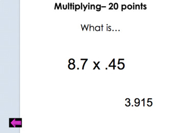 Jeopardy Review:  Adding, Subtracting, Multiplying and Dividing Decimals