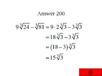 Jeopardy Review Algebra 2 Topics #2
