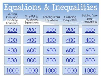 Jeopardy Review (Equations & Inequalities) with CLICKERS