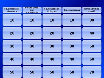 Jeopardy Review-Midpt/Distance/Parallel Lines/Polygons/Transformation
